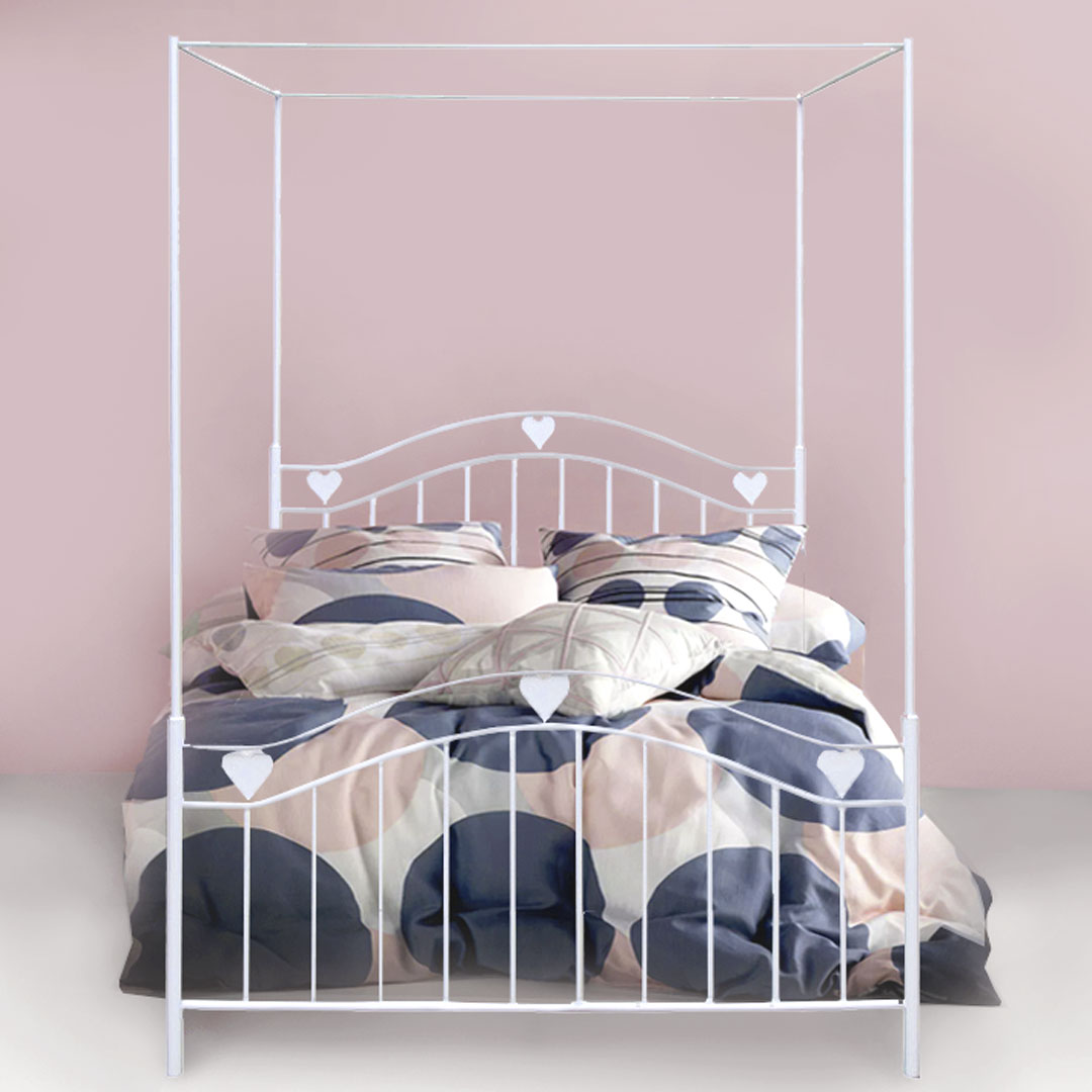 leah heart metal canopy bed clever little monkey