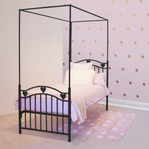 Black Leah Heart Canopy Bed