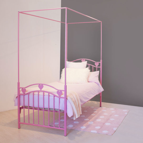 Pink Leah Heart Canopy Bed