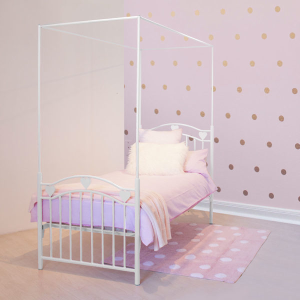 White Leah Heart Canopy Bed