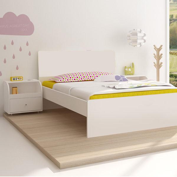 Loki Arctic White Bed