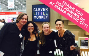 This past weekend we exhibited at the annual Mama Magic baby expo in Cape Town which loads of happy parents visit to either pick their baby essentials or come and see Barney the friendly dinosaur in real life. We had a renowned author, stylist and decorator, Sam Scarborough from Kids Decor Design, sharing the latest decorating tips with parents from our stand where she was also promoting the launch of her latest book and giving away free copies to our Win a Room finalists. She will be joining us again in JHB so be sure to come and visit the Clever Little Monkey stand.