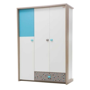 Point Wardrobe (3 Doors) - Blue