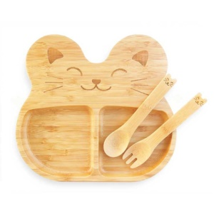 Bamboo Plate and Cutlery - Cat