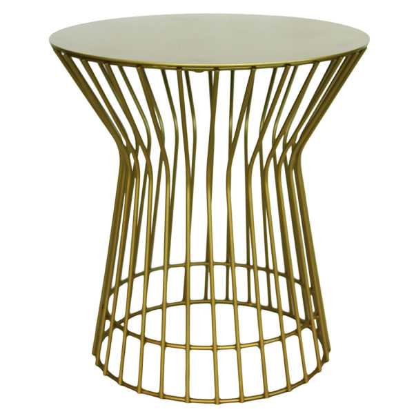 Drum Side Table - Gold