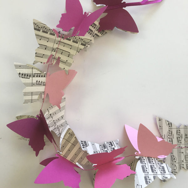 3D Butterfly Garland - Pink & Music Sheets