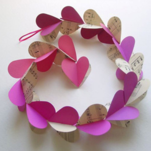 3D Heart Garland - Pink with Music Sheets