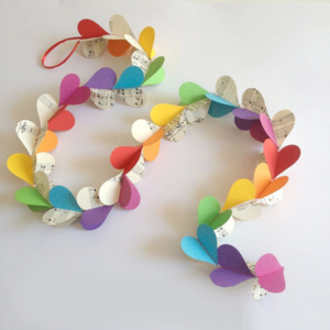 3D Heart Garland - Rainbow with Music Sheets