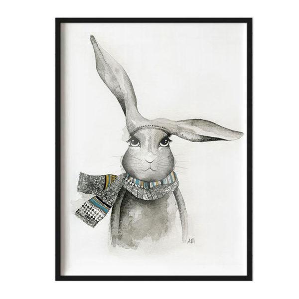 A3 Framed Art Print - Bunny Watercolour