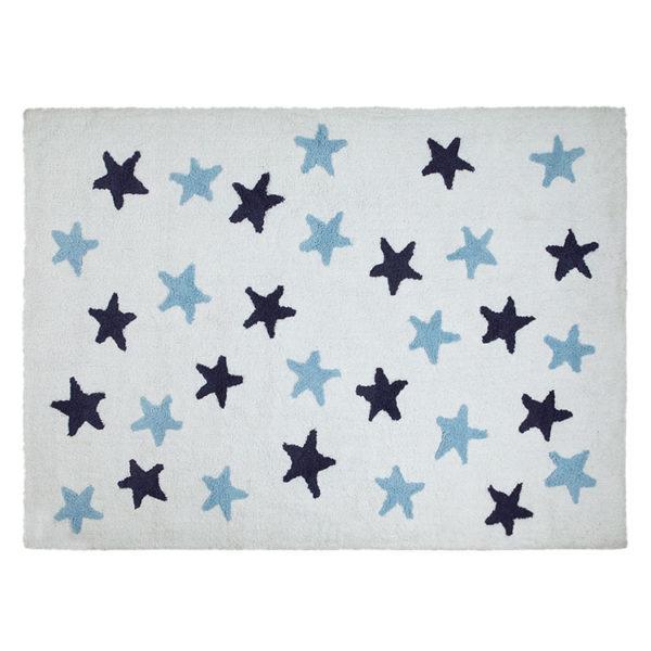 White & Navy Messy Stars Rug