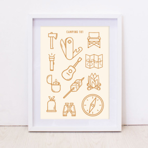Camping 101 Art Print - Mustard