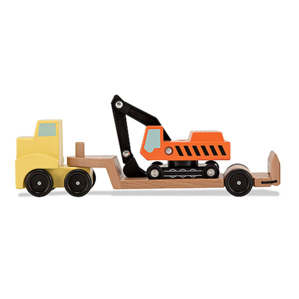 Flatbed trailer with excavator