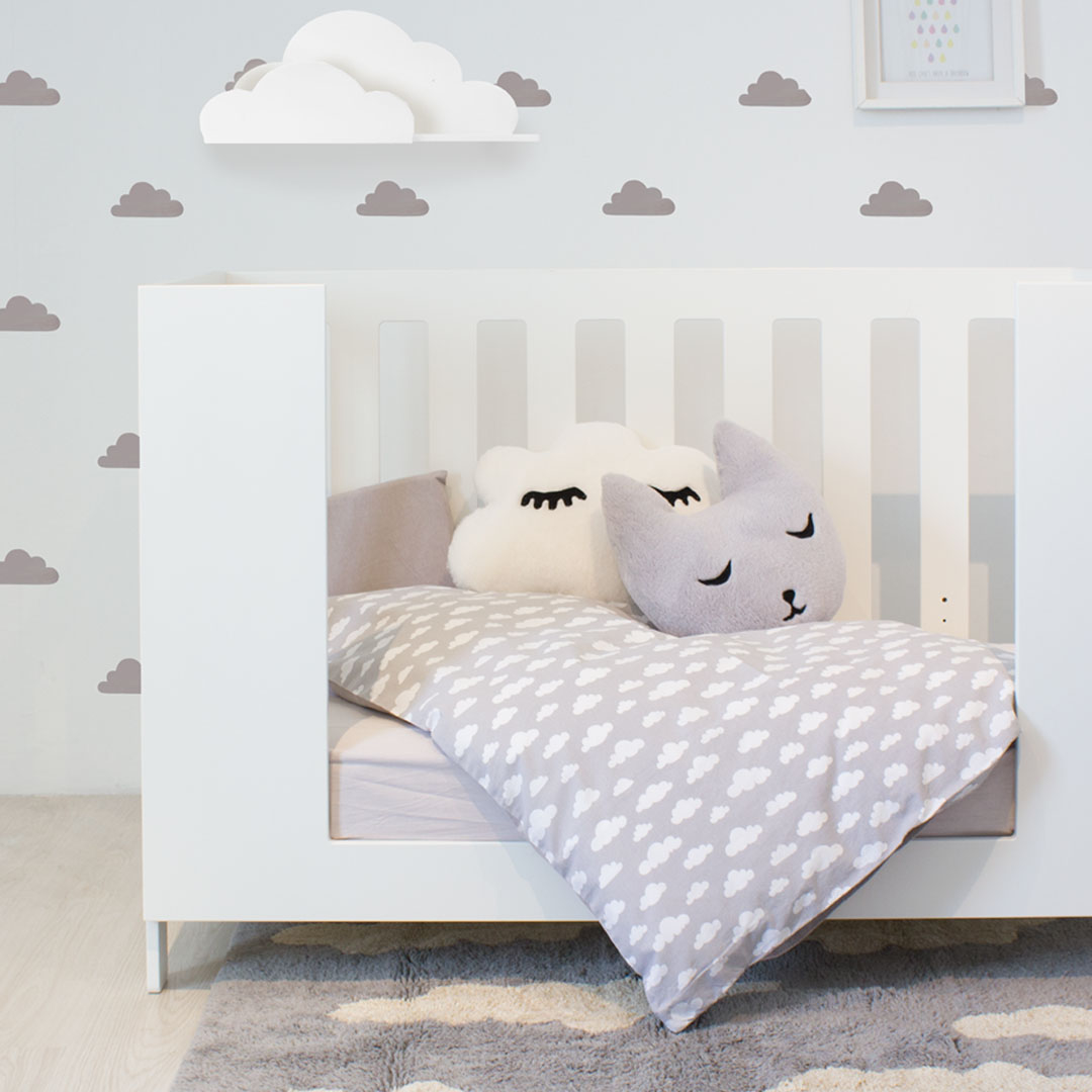Grey Clouds Cot Set