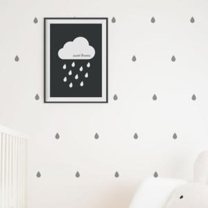 Grey Raindrops Decals