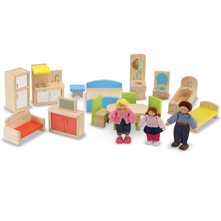 Hi Rise Wooden Dollhouse And Furniture Set Clever Little Monkey
