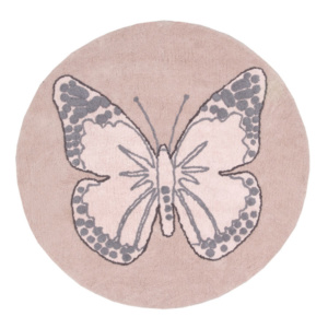 Butterfly Round Rug - Nude Pink
