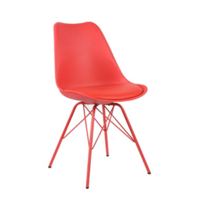 Red Eames Style Metal Chair