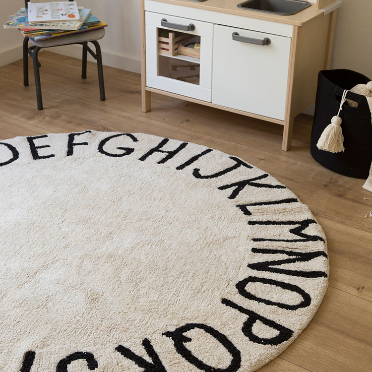 Round Abc Rug Natural Black By Lorena Canals