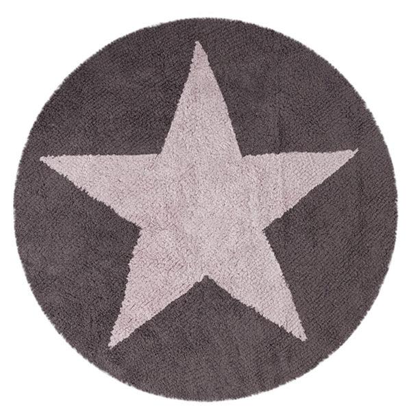 Round Reversible Star Rug - Pink