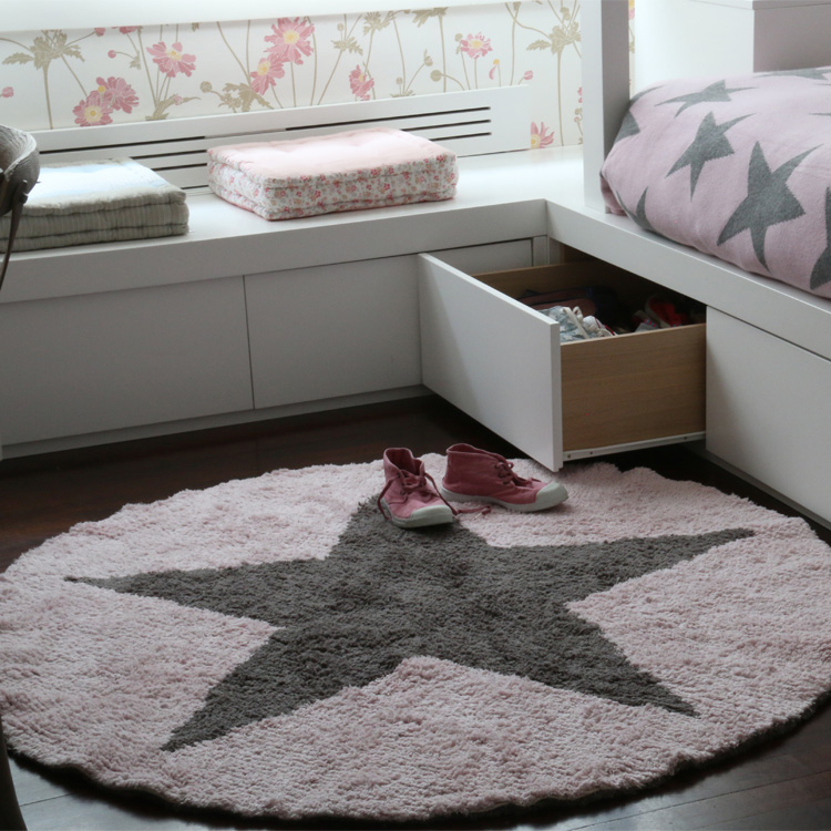 Round Reversible Star Rug Blue By Lorena Canals Clever