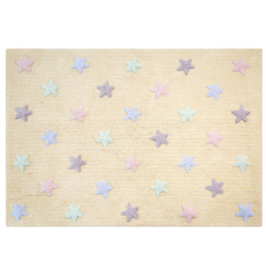 Tricolour Stars Rug - Vanilla