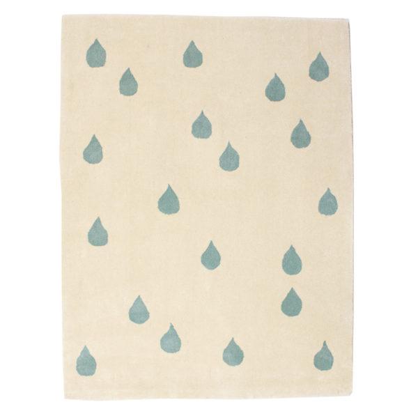 Ivory & Blue Raindrop Rug