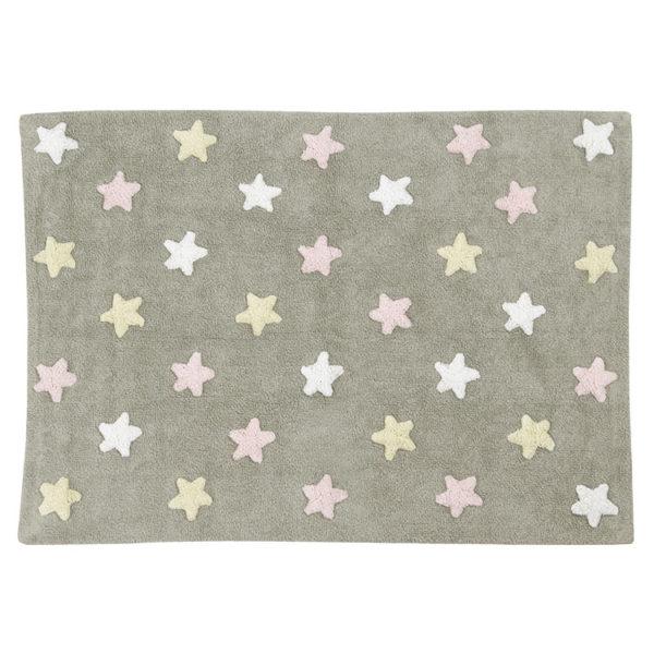 Tricolour Stars Rug - Pink