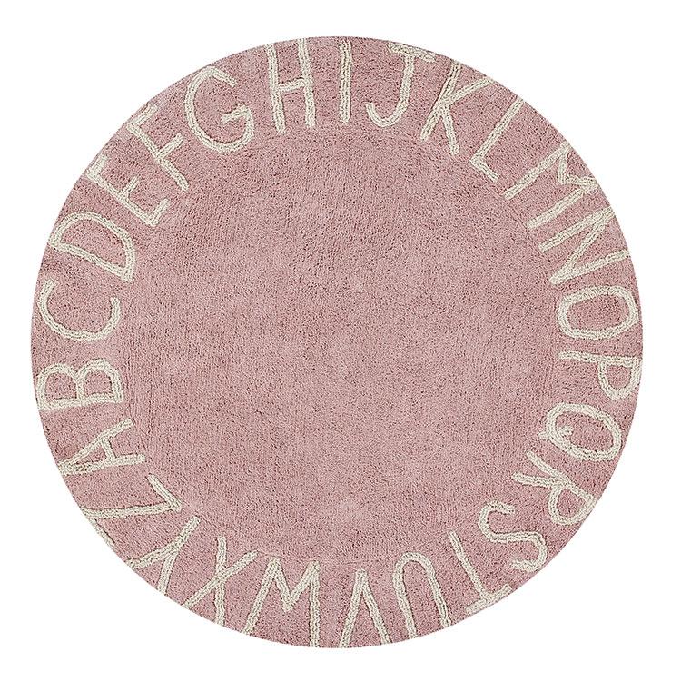 Round ABC Rug - Vintage Nude Pink