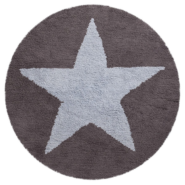 Round Reversible Star Rug - Blue
