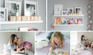 Diy book shelf wood block letters