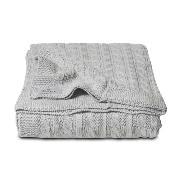 Cable Blanket Light Grey 100x150