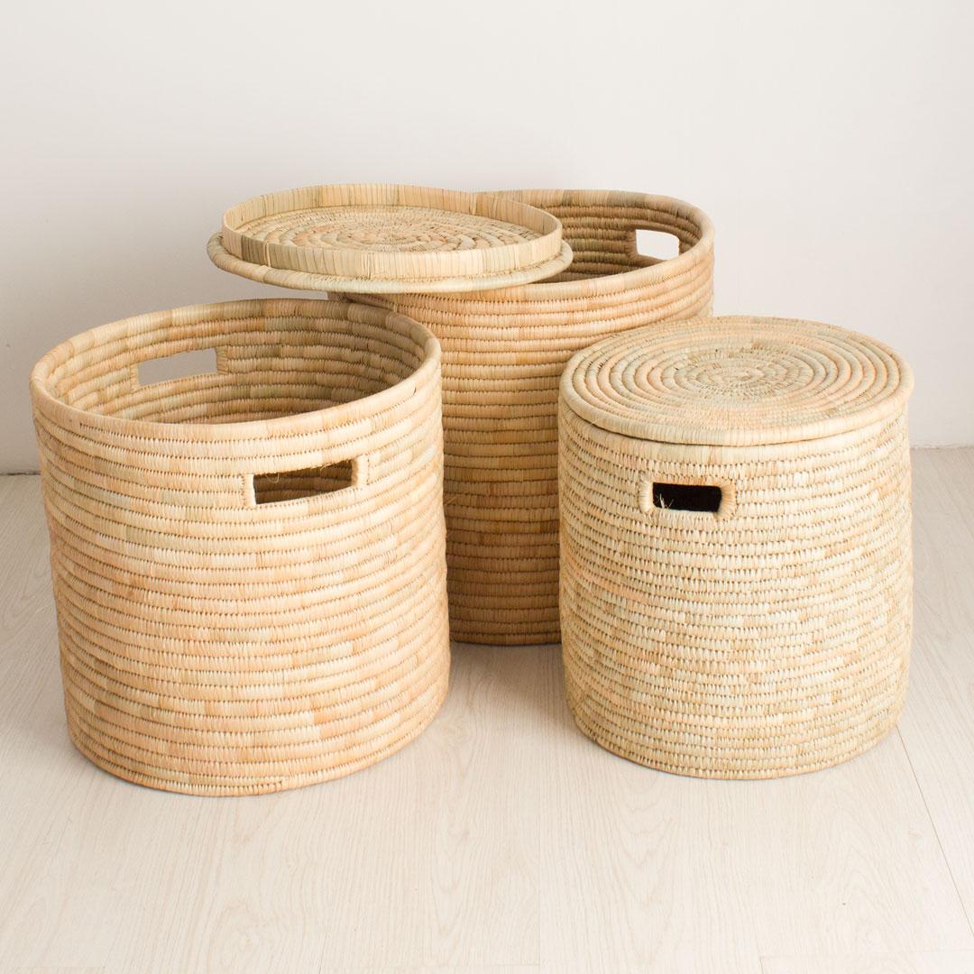 Storage Basket Set With Lids   Natural   Set Of 3