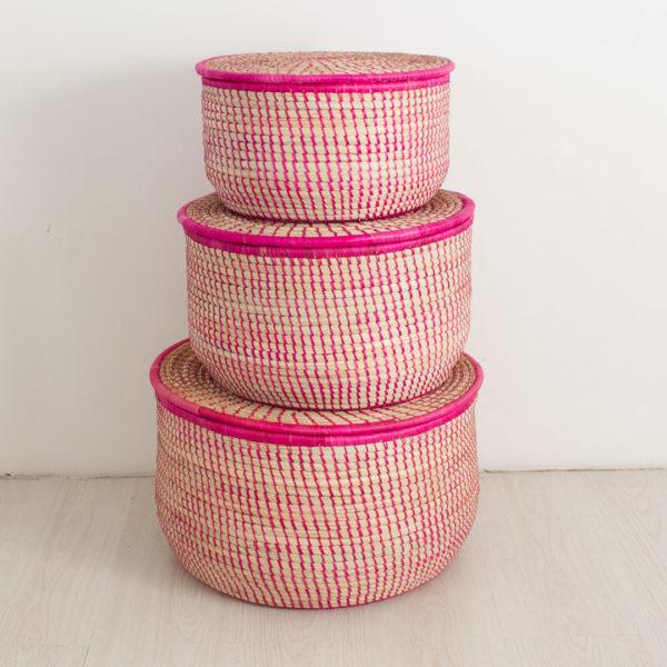 Pink storage baskets