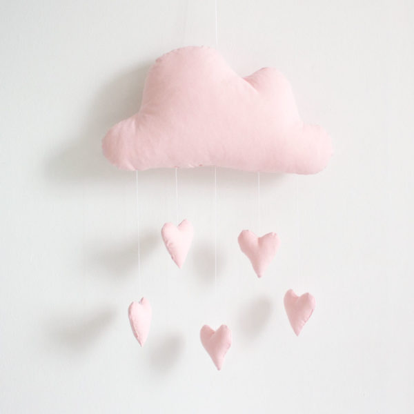 Cloud Heart Mobile - Pink