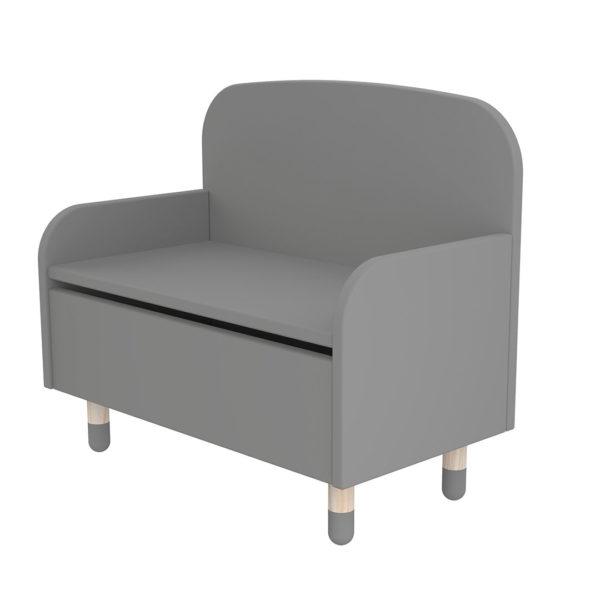 Play Storage Bench with Backrest Grey