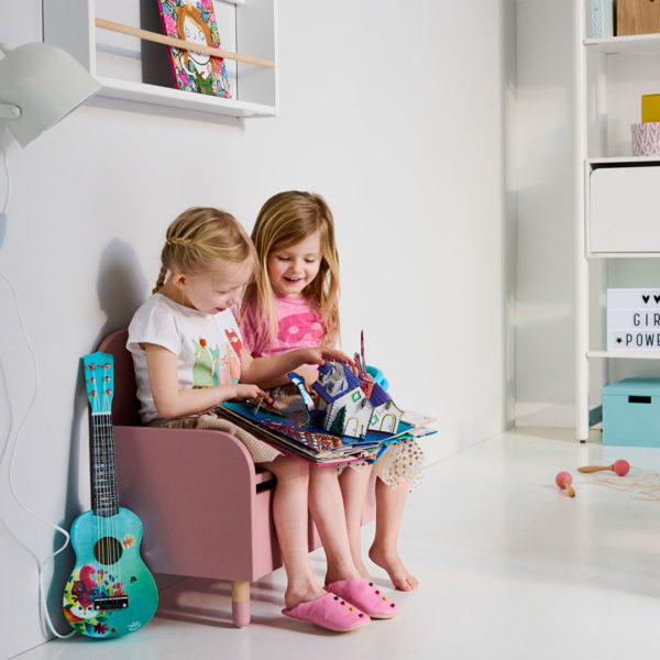 Play Storage Bench with Backrest Rose