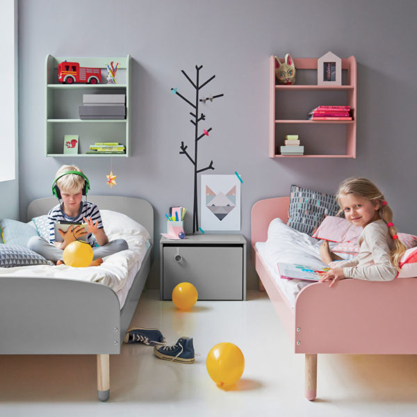 Flexa Play Bed - Grey & Rose and Play Wall Shelf 3 Tier