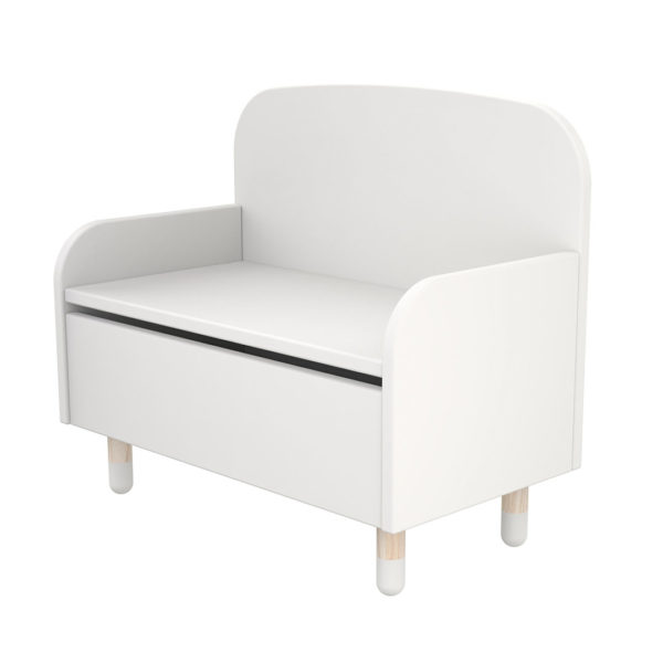 Play Storage Bench with Backrest White
