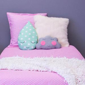 White Polka Duvet on Pink