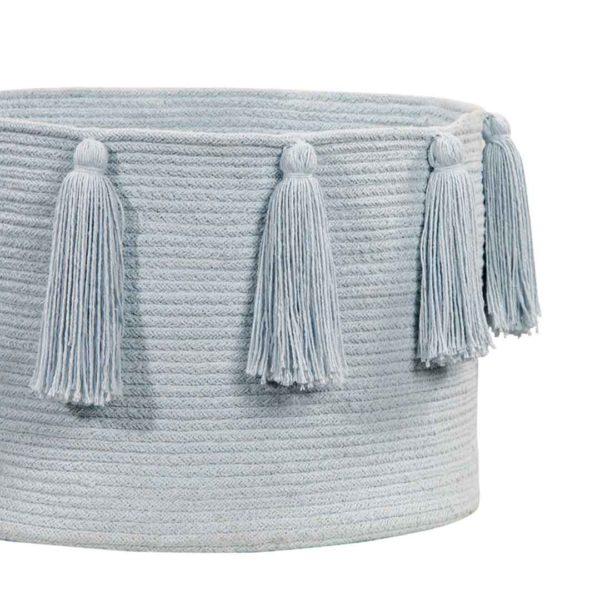 Tassel Basket - Soft Blue