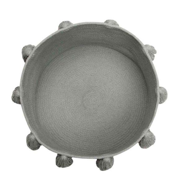Tassel Basket - Light Grey - Top