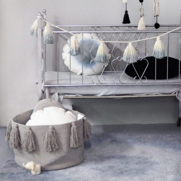 Tassel Basket - Light Grey