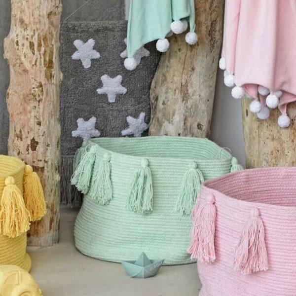 Tassel Basket - Soft Mint