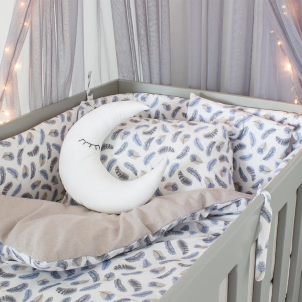 Blue Feathers Cot Set