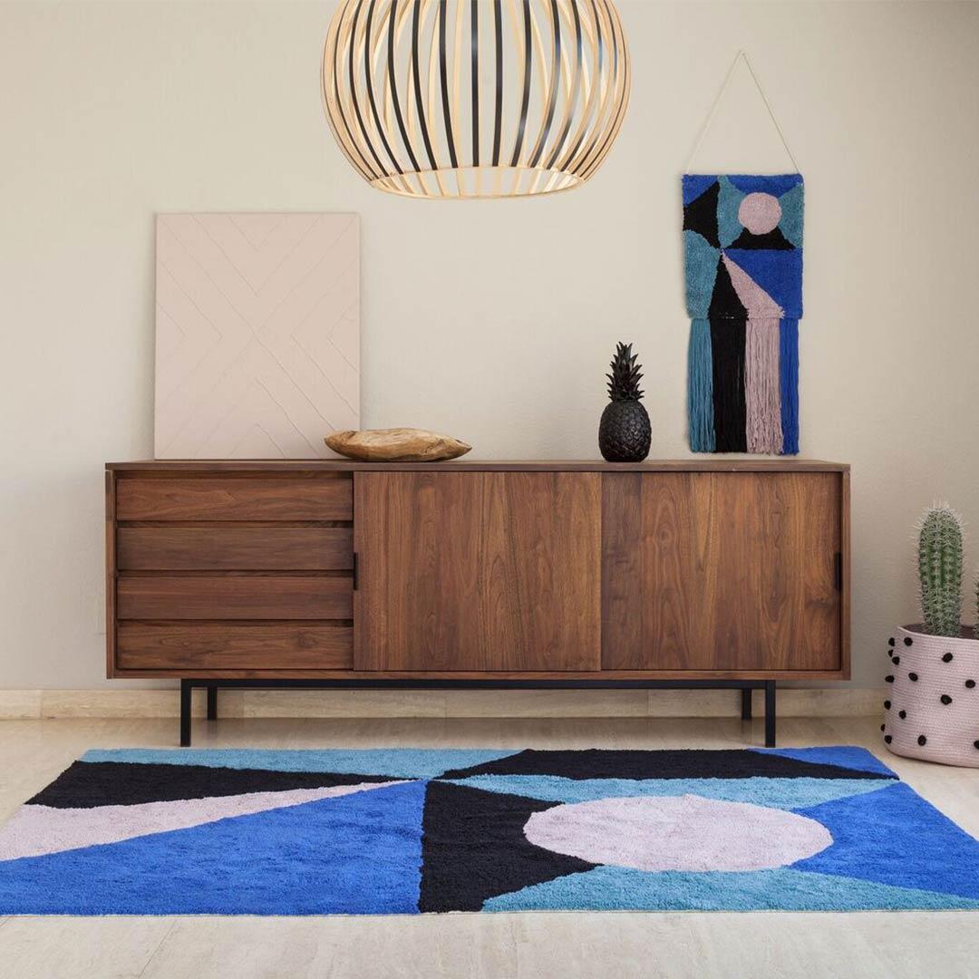 Geometric Frame Rug - Klein Blue