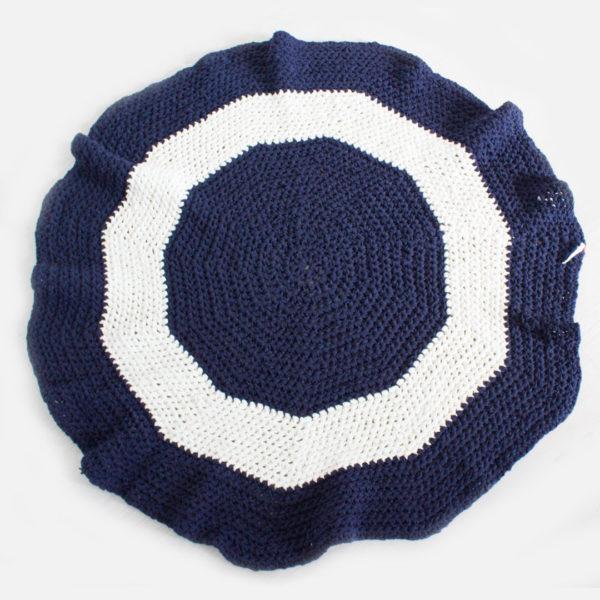 Crochet Rug - Navy & Ivory