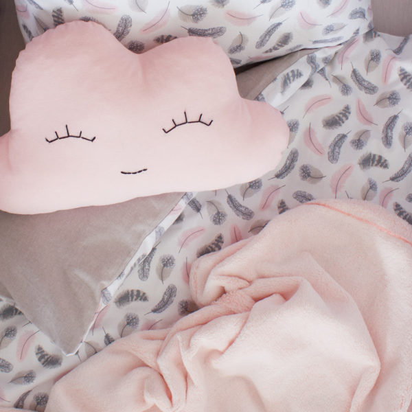 Pink Feathers Cot Set