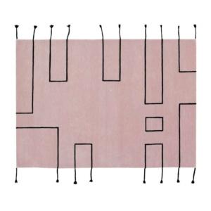 Nordic Lines Wool Rug - Vintage Nude Pink