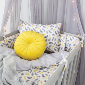 Yellow Feathers Cot Set