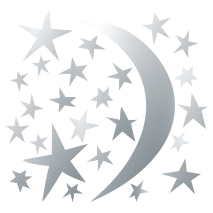 Bunni Whispy Stars Celestial Decals - Silver